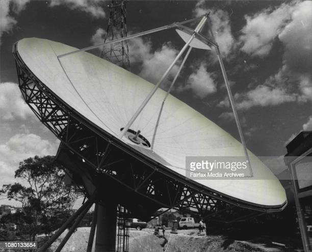 New Satellite Receiving Station Hugh dish is being builtup just in the backyard of Channel 9 at ArtarmonThis dish is 183 metres in diameter weights...