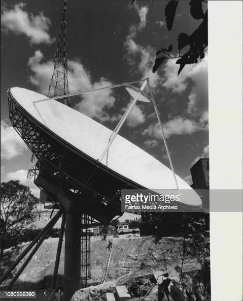 New satellite receiving stationHuge disk is being builtup Just In the backyard of Channel 9 at ArtarmonThe dish is 183 metres in diamentre weights 28...