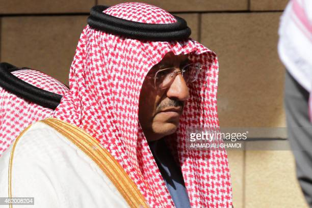 New Saudi Interior Minister Prince Mohammed bin Nayef attends the funeral of late Saudi King Abdullah bin Abdul Aziz on January 23 2015 in Riyadh...