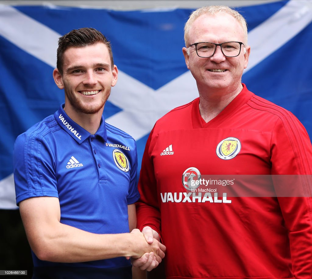 New Scotland Captain Andy Robertson and Scotland manager Alex McLeish are seen during a Scotland training session ahead of their International friendly match against Belgium at Orium Performance Centre on September 3, 2018 in Edinburgh, Scotland.