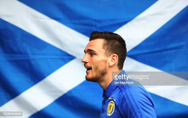 New Scotland Captain Andy Robertson is seen during a Scotland training session ahead of their International friendly match against Belgium at Orium...