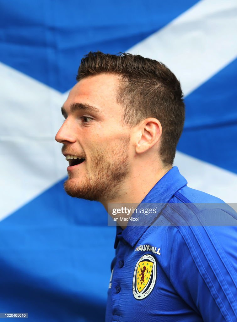 New Scotland Captain Andy Robertson is seen during a Scotland training session ahead of their International friendly match against Belgium at Orium Performance Centre on September 3, 2018 in Edinburgh, Scotland.
