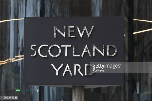 New Scotland Yard sign outside the headquarters of the Metropolitan Police Service and the Police Community Support Officers. On Saturday, 25 January...