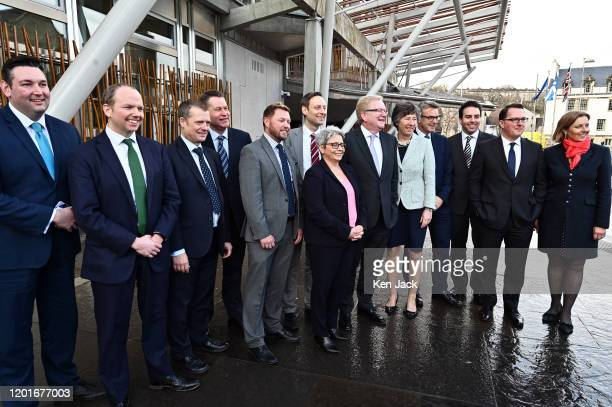New Scottish Conservative leader Jackson Carlaw and his newlyannounced shadow cabinet team outside the Scottish Parliament on February 18 2020 in...