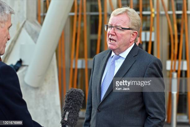 New Scottish Conservative leader Jackson Carlaw is interviewed outside the Scottish Parliament after announcing his shadow cabinet on February 18...