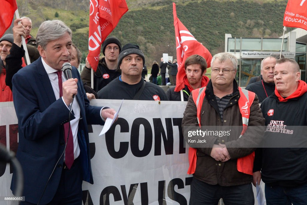 New Scottish Labour leader Richard Leonard addresses a Unite union demonstration outside the Scottish Parliament against blacklisting of workers by construction companies, on December 6, 2017 in Edinburgh, Scotland.