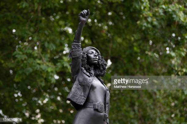 New sculpture, by local artist Marc Quinn, of Black Lives Matter protestor Jen Reid stands on the plinth where the Edward Colston statue used to...