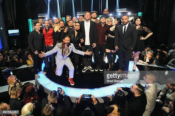 New Season 6 winner Kruseman poses with cast at Spike TV's 'Ink Master' Season 6 LIVE Finale on October 13 2015 in New York City