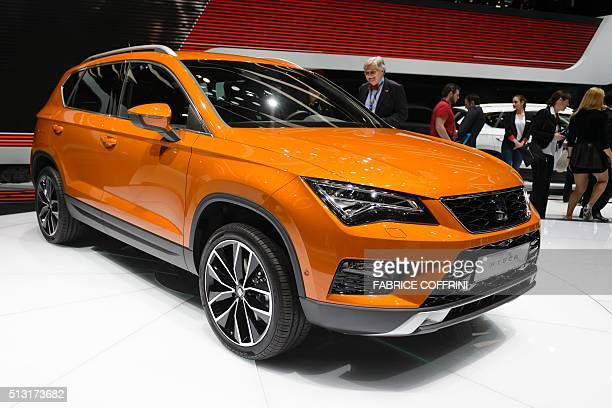 A new Seat Ataca is displayed at the stand of Spanish carmaker during the press day of the Geneva Motor Show on March 1 2016 in Geneva / AFP /...