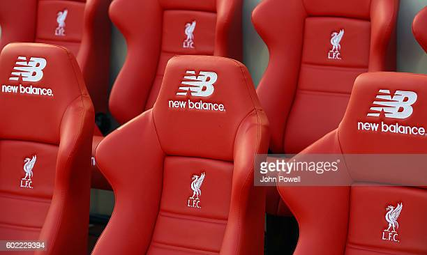 New seats at the Liverpool dugout before the Premier League match between Liverpool and Leicester City at Anfield on September 10 2016 in Liverpool...