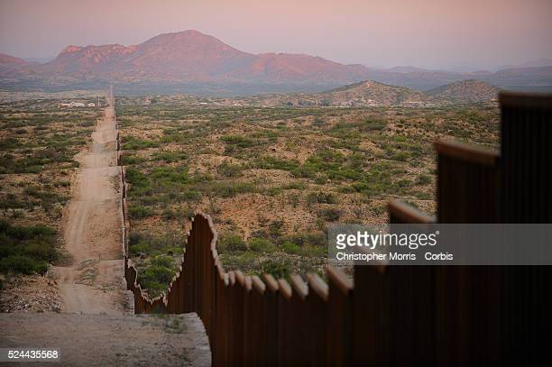 A new section of the fence that has recently been erected on the border between Mexico and the USA near the town of Sasabe Arizona The fence runs for...
