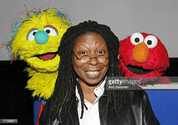 New Sesame Street character Azibo comedian and UN Goodwill Ambassador Whoopi Goldberg and Sesame Street's Elmo attend a press conference to announce...