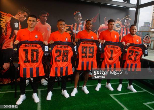 New Shakhtar Donetsk players Junior MoraesMarquinhos CiprianoFernandoAlexey Shevchenko and Maicon attend their official presentation in Kiev Ukraine...