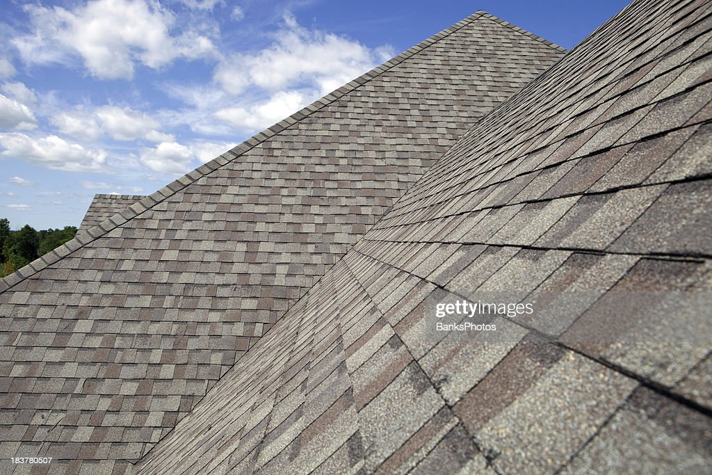 New Shingled Roof with Blue Sky Background : Stock Photo