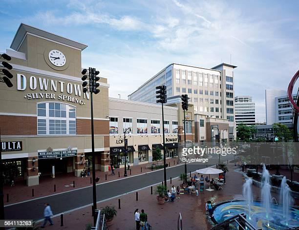 New shopping and restaurant row in suburban Silver Spring Maryland near Washington DC