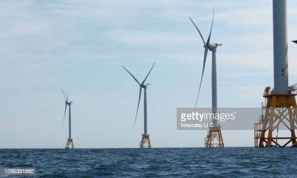New Shoreham, Block Island, R.I.: Photo of the Deepwater Wind offshore wind farm at Block Island on August 14, 2016.