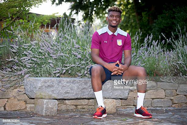 New signing Aaron Tshibola of Aston Villa poses for a picture at the club's training camp at Leibnitz on July 10, 2016 in Leibnitz, Austria.