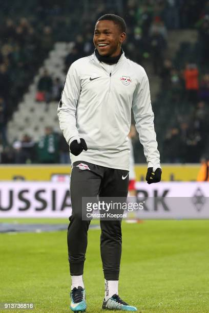 New signing Ademola Lookman of Leipzig during warm up before the Bundesliga match between Borussia Moenchengladbach and RB Leipzig at BorussiaPark on...