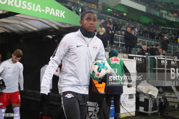New signing Ademola Lookman of Leipzig enters the arena before the Bundesliga match between Borussia Moenchengladbach and RB Leipzig at BorussiaPark...