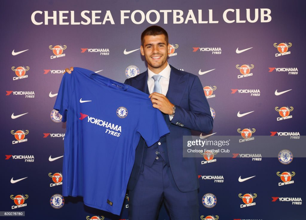 New Signing Alvaro Morata poses at Chelsea Training Ground on July 21, 2017 in Cobham, England.