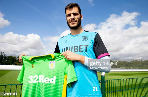 New signing Andre Moreira of Aston Villa poses for a picture at the club's training ground at Bodymoor Heath on August 01 2018 in Birmingham England