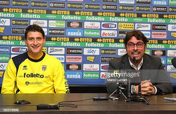 New signing Andrea Coda and General Manager of Parma Pietro Leonardi during a press conference at the club's training ground on January 26 2013 in...