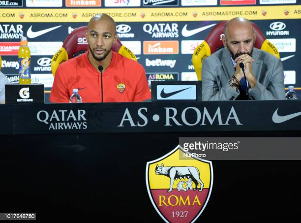 New signing Ante Coric and Sport Director Ramon Rodriguez Verdejo Monchi during the press conference at the AS Roma Training Centre on August 16 2018...