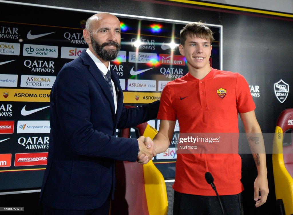 New signing Ante Coric and Sport Director Ramon Rodriguez Verdejo Monchi pose for photographers during the press conference at the AS Roma Training Centre on July 07, 2018 in Rome, Italy.
