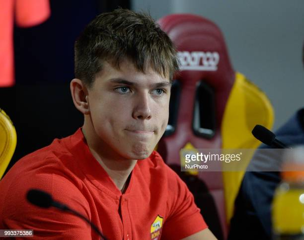 New signing Ante Coric during the press conference at the AS Roma Training Centre on July 07 2018 in Rome Italy