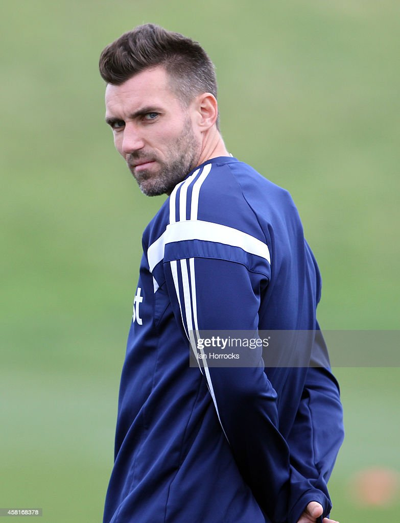 New signing Anthony Reveillere during a Sunderland AFC Training Session at The Academy of Light on October 31, 2014 in Sunderland, England.
