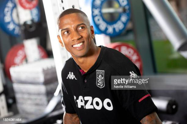 New signing Ashley Young of Aston Villa poses for a picture at Aston Villa's Bodymoor Heath training ground on June 17, 2021 in Birmingham, England.
