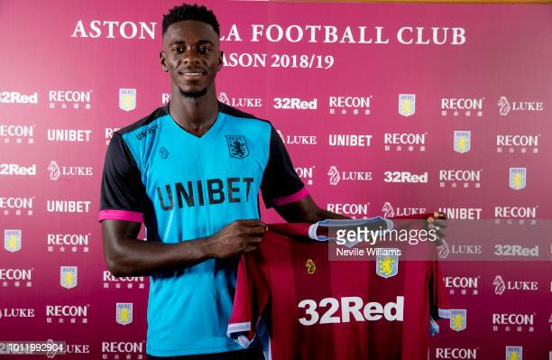 New signing Axel Tuanzebe of Aston Villa poses for a picture at the club's training ground at Bodymoor Heath on August 06 2018 in Birmingham England