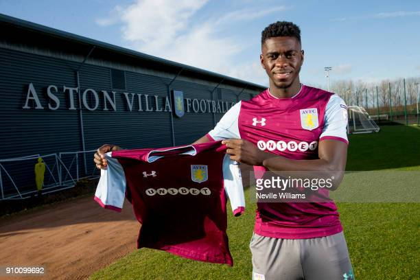 New signing Axel Tuanzebe of Aston Villa poses for a picture at the club's training ground at Bodymoor Heath on January 25 2018 in Birmingham England