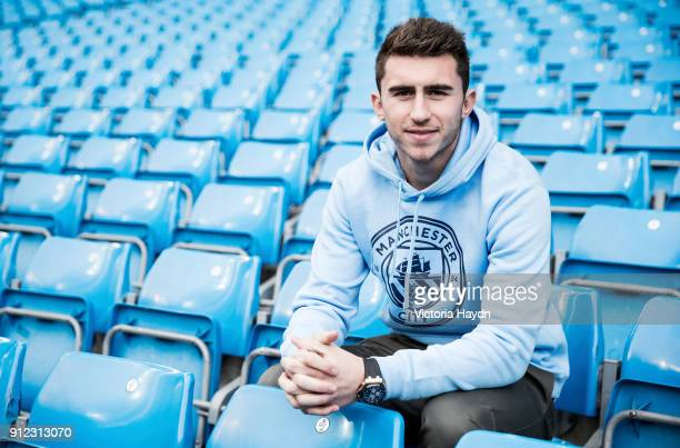 New signing Aymeric Laporte takes part in his first photo shoot at Manchester City Football Club at Etihad Stadium on January 30 2018 in Manchester...