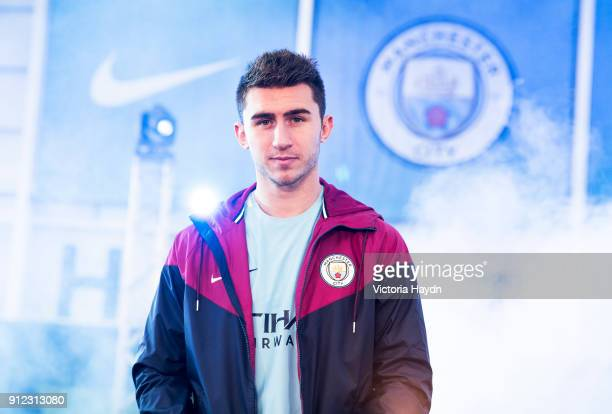New signing Aymeric Laporte takes part in his first photo shoot at Manchester City Football Academy on January 30 2018 in Manchester England