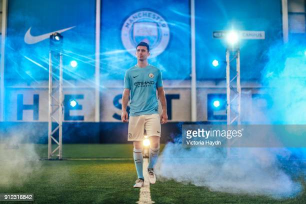 New signing Aymeric Laporte takes part in his first photoshoot at City Football Academy on January 30 2018 in Manchester England