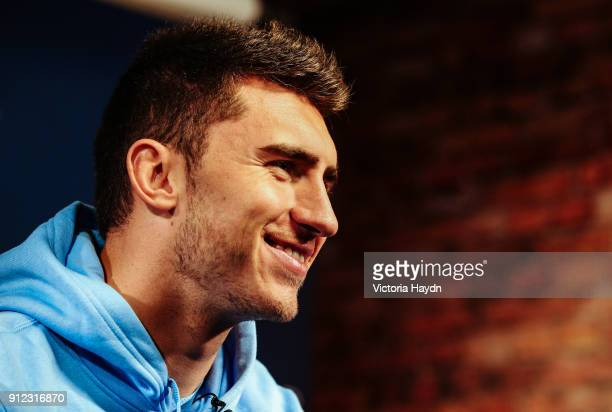 New signing Aymeric Laporte takes part in his first photoshoot at City Football Academy at Etihad Stadium on January 30 2018 in Manchester England