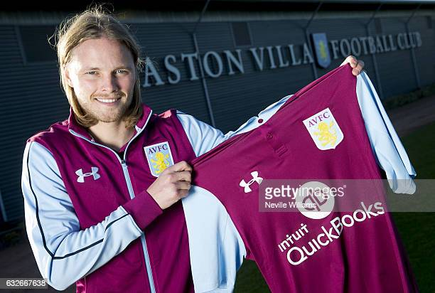 New signing Birkir Bjarnason of Aston Villa poses for a picture at the club's training ground at Bodymoor Heath on January 25 2017 in Birmingham...
