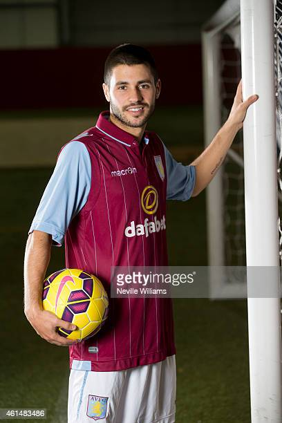 New signing Carles Gil of Aston Villa poses for a picture at the club's training ground at Bodymoor Heath on January 13 2015 in Birmingham England
