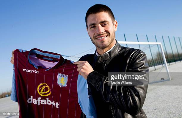 New signing Carles Gil of Aston Villa poses for a picture at the club's training ground at Bodymoor Heath on January 14 2015 in Birmingham England
