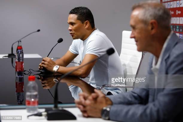 New signing Carlos Bacca of Granada CF during his presentation at the Nuevo Los Carmenes stadium on July 14, 2021 in Granada, Spain.