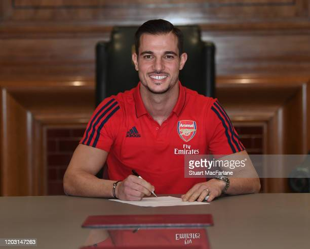 New signing Cedric Soares signs his Arsenal contract at Emirates stadium on January 30 2020 in London England