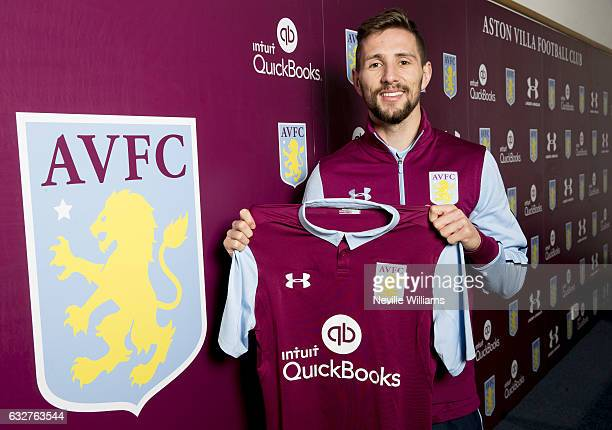New signing Conor Hourihane of Aston Villa poses for a picture at the club's training ground at Bodymoor Heath on January 26 2017 in Birmingham...