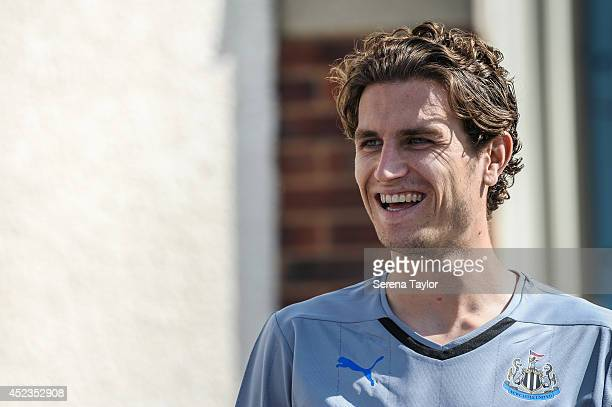 New signing Daryl Janmaat during an interview at The Newcastle United Training Centre on July 15 2014 in Newcastle upon Tyne England
