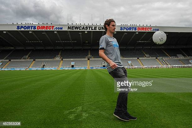 New signing Daryl Janmaat shows his skills by keeping the ball up at StJames' Park on July 15 2014 in Newcastle upon Tyne England