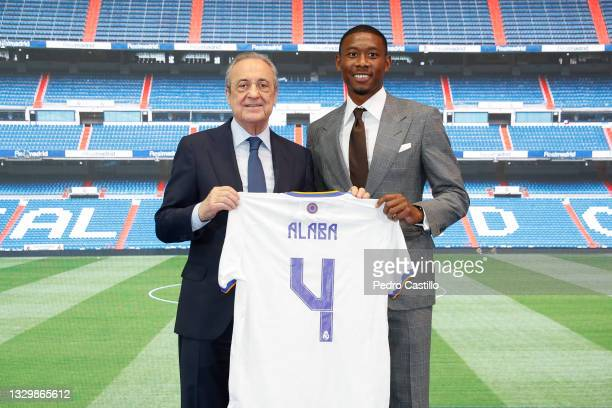 New signing David Alaba of Real Madrid and Florentino Pérez on July 21, 2021 in Madrid, Spain.