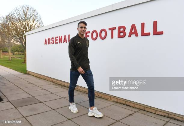New signing Denis Suarez arrives at the Arsenal training ground at London Colney on January 31 2019 in St Albans England