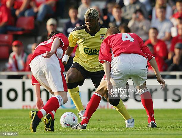 New signing Djibril Cisse of Liverpool in action during the friendly match between Wrexham and Liverpool at The Race Course on July 21 2004 in...