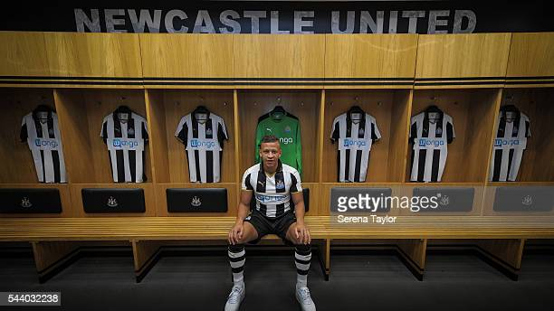 New signing Dwight Gale poses for a photograph in the Home Dressing room wearing the New NUFC 2016/17 Kit at St.James' Park on June 30, 2016 in...