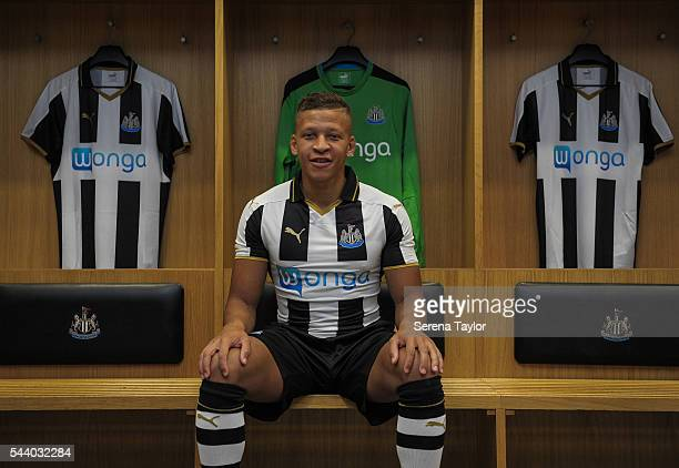 New signing Dwight Gale poses for a photograph in the Home Dressing room wearing the New NUFC 2016/17 Kit at StJames' Park on June 30 2016 in...